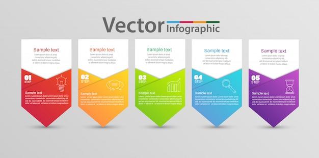 Modelo de infográficos com 5 etapas e opções