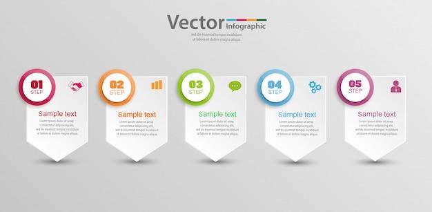Modelo de infográficos com 5 etapas, opções ou processos