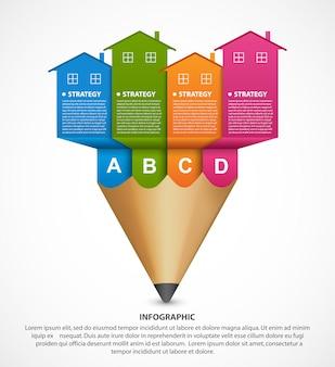 Modelo de infográficos com casas coloridas e lápis