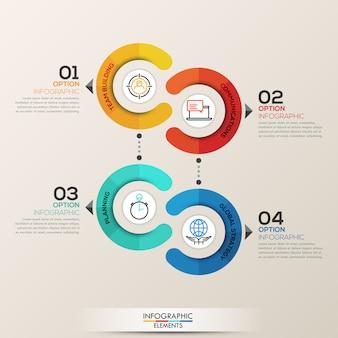 Modelo de infográficos com círculos