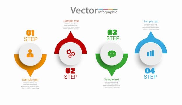 Modelo de infográficos com etapas ou opções