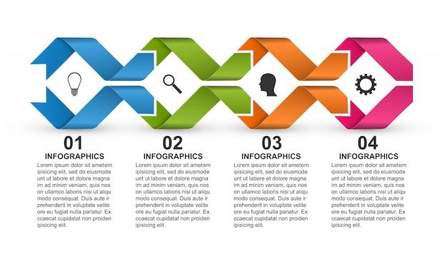 Modelo de infográficos com fitas para apresentações.