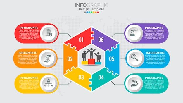 Modelo de infográficos com gráfico de processo de fluxo de trabalho de 6 elementos.