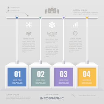 Modelo de infográficos com ícones