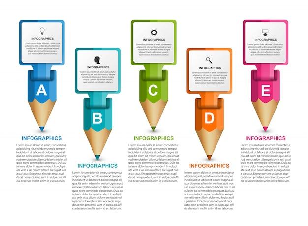 Modelo de infográficos com lápis colorido.