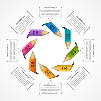 Modelo de infográficos com lápis de cor em forma de fitas.