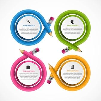 Modelo de infográficos com lápis de cor infográficos
