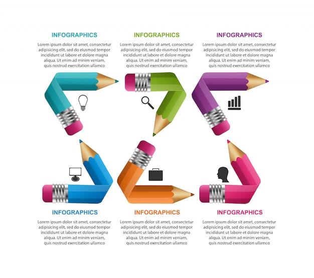Modelo de infográficos com lápis de cor.