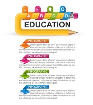Modelo de infográficos com lápis. infográficos para apresentações de negócios ou banner de informações.