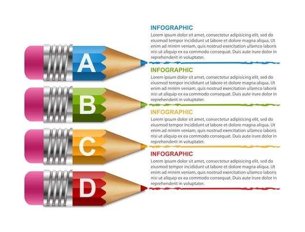 Modelo de infográficos com lápis.