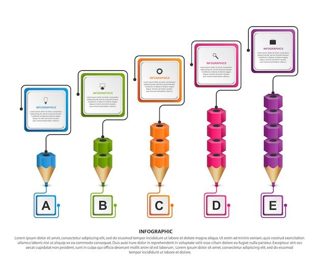 Modelo de infográficos com lápis