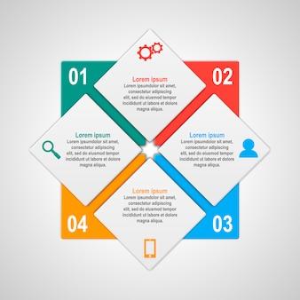 Modelo de infográficos com quatro opções no estilo material. pode ser usado como um gráfico, faixa numerada, apresentação, gráfico, relatório, web etc.