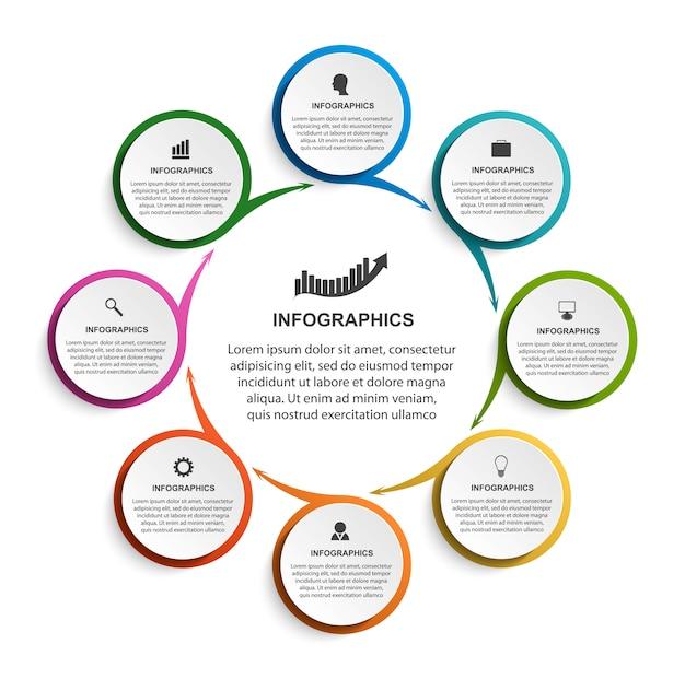 Modelo de infográficos com setas para apresentações de negócios.