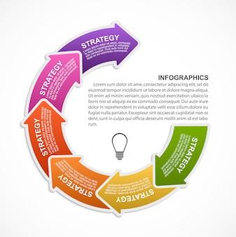 Modelo de infográficos com setas para banner de informações.