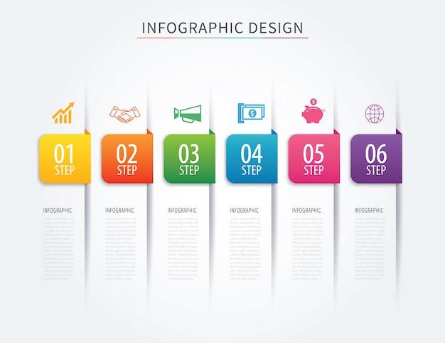 Modelo de infográficos da guia negócios com seis etapas.