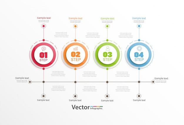 Modelo de infográficos da linha do tempo com etapas ou processos