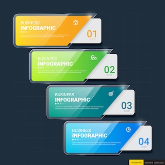 Modelo de infográficos de 4 etapas