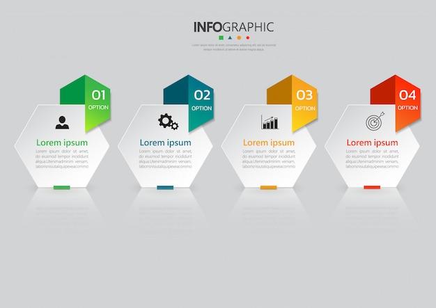 Modelo de infográficos de 4 etapas.