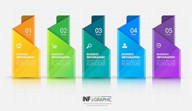 Modelo de infográficos de 5 etapas