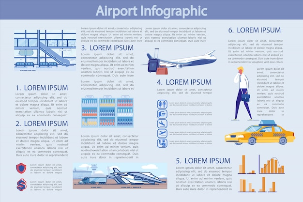 Modelo de infográficos de aeroporto