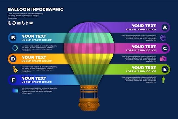 Modelo de infográficos de balão