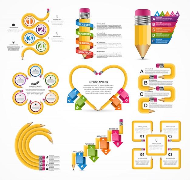 Modelo de infográficos de coleção educação.