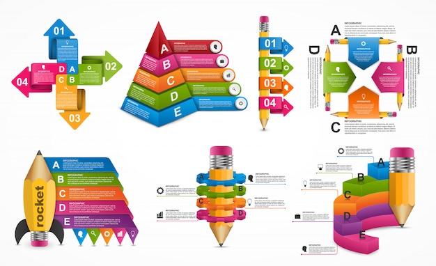 Modelo de infográficos de coleção.