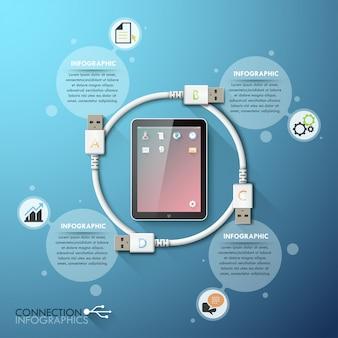Modelo de infográficos de conexão usb de negócios