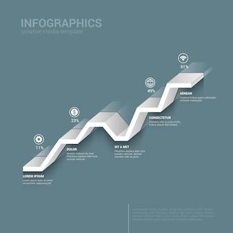 Modelo de infográficos de cor monocromática de gráfico de linha gráfico