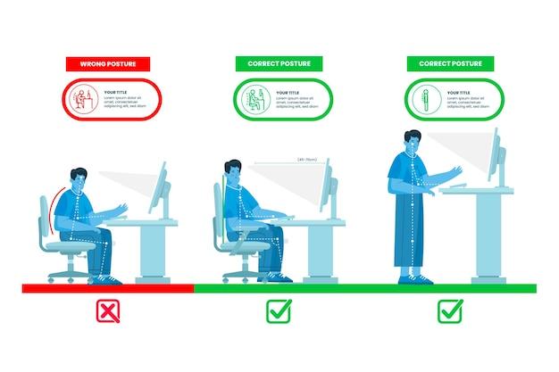 Modelo de infográficos de correção de postura plana
