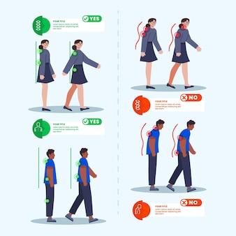 Modelo de infográficos de correção de postura