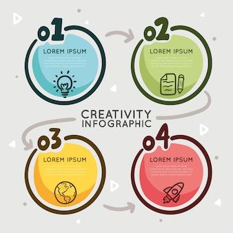 Modelo de infográficos de criatividade desenhado à mão