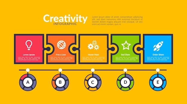 Modelo de infográficos de criatividade em design plano