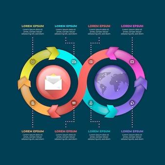 Modelo de infográficos de criatividade gradiente