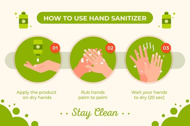Modelo de infográficos de desinfetante para as mãos