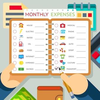 Modelo de infográficos de despesas, custos e receitas mensais. casa e crédito, transporte e internet. ilustração vetorial