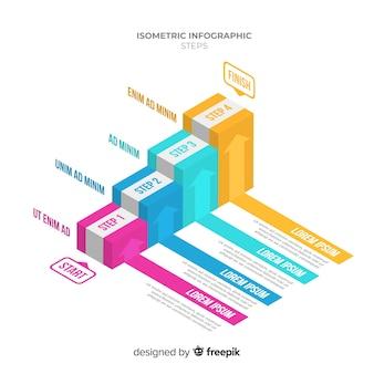 Modelo de infográficos de escada isométrica colorido