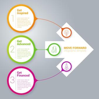 Modelo de infográficos de fita de arco-íris passo a passo.