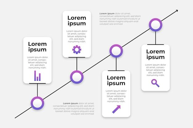 Modelo de infográficos de gradiente de linha do tempo
