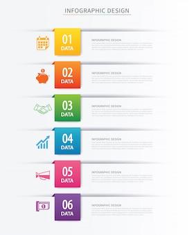 Modelo de infográficos de índice de negócios com seis dados.