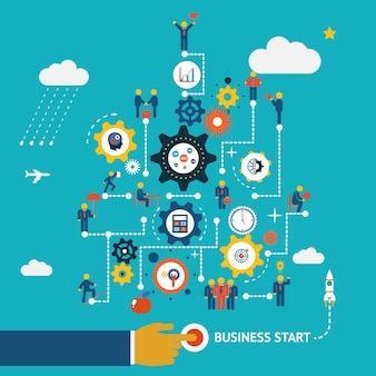 Modelo de infográficos de início de negócios. esquema com humanos, ícones e engrenagens