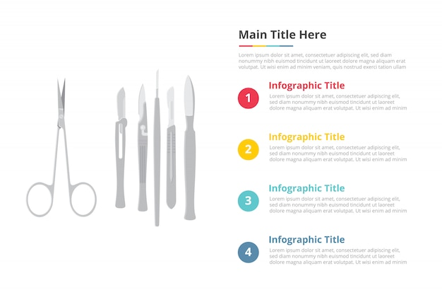 Modelo de infográficos de instrumentos de instrumentos cirúrgicos de cirurgia com 4 pontos de descrição de texto de espaço livre