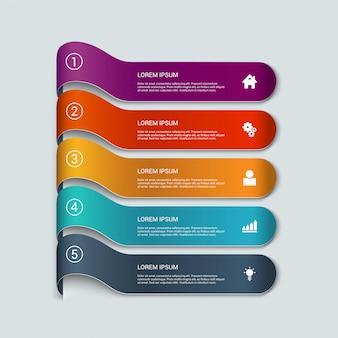 Modelo de infográficos de itens de fita multicolor.