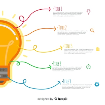 Modelo de infográficos de lâmpada