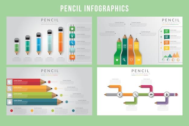Modelo de infográficos de lápis