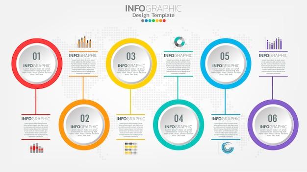 Modelo de infográficos de linha do tempo com gráfico de processo de fluxo de trabalho de 6 elementos.