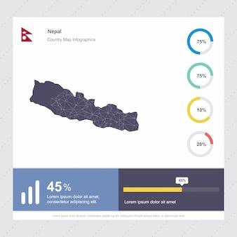 Modelo de infográficos de mapa & bandeira do nepal