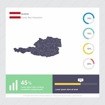 Modelo de infográficos de mapa e bandeira da áustria