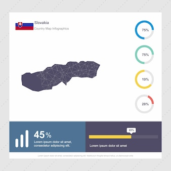 Modelo de infográficos de mapa e bandeira da eslováquia