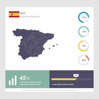 Modelo de infográficos de mapa e bandeira da espanha